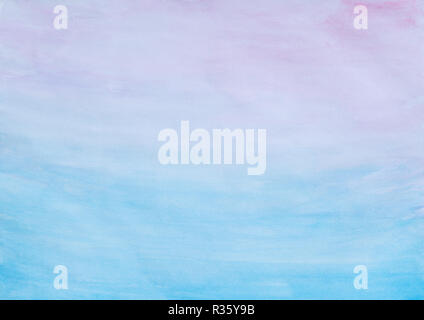 Abstract pink and blue watercolor gradient fill background with watercolour stains and paper texture. - Stock Photo