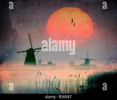 NL -  ALBLASSERWAARD: Windmills at Kinderdijk near Rotterdam  (Digital Art) - Stock Photo