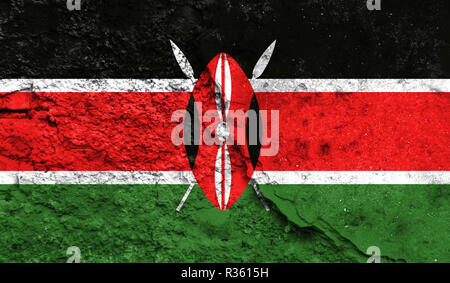Flag of Kenya close up painted on a cracked wall, concept of armed actions and conflicts in the world - Stock Photo