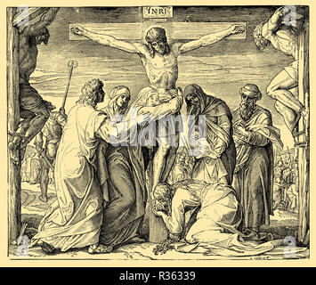 Jesus' death on the cross, Julius Schnorr von Carolsfeld - Stock Photo