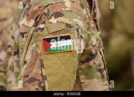 Sahrawi Arab Democratic Republic flag on soldiers arm. Sahrawi Arab Democratic Republic troops (collage) - Stock Photo