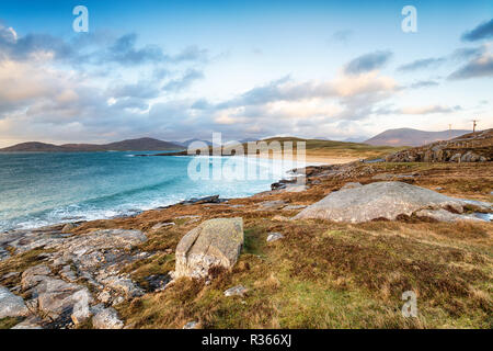 The coastline on the south west side of the Isle of Harris near Horgobost, looking over Traigh Lar beach - Stock Photo