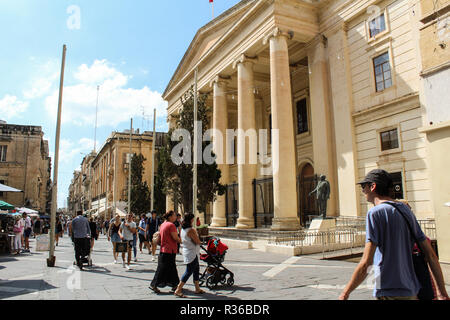 VALLETTA MALTA, SEPTEMBER 26, 2017 -The Neoclassical portico of Courts of Justice - the courthouse, located in Republic street - Stock Photo