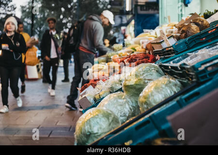 London, UK - November 02, 2018: Fresh fruits and vegetables on sale at a convenience store in London, UK. These stores are located throughout the city Stock Photo