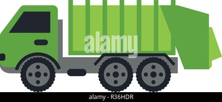 realistic white garbage truck vector mockup isolated template of