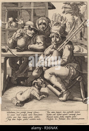 The Bagpipe Must Be Filled. Dated: c. 1592. Dimensions: plate: 24.4 x 17 cm (9 5/8 x 6 11/16 in.)  sheet: 39.7 x 27.2 cm (15 5/8 x 10 11/16 in.). Medium: engraving on laid paper. Museum: National Gallery of Art, Washington DC. Author: Workshop of Hendrick Goltzius, after Karel van Mander I. - Stock Photo