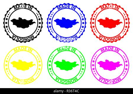 Made in Mongolia - rubber stamp - vector, Mongolia map pattern - black, blue, green, yellow, purple and red - Stock Photo