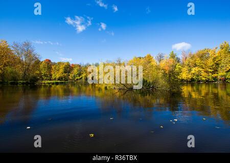 Riviere des Mille Iles Nature Park in autumn, Quebec, Canada - Stock Photo