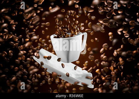 explosion of coffee beans with white cup - Stock Photo