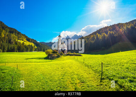 San Giovanni or St Johann in Ranui chapel, Funes Valley, Dolomites Alps. Trentino Alto Adige Sud Tyrol, Italy, Europe