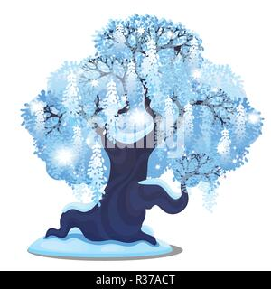 Sketch for Christmas poster with beautiful tree with spreading weeping crown isolated on white. Template for greeting card, party invitation. Snowy winter landscape with snowfall. Festive mood. - Stock Photo