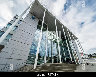 New City Hall, Radhus, town hall, modern architecture with large glass facade, Tromsö, Norway - Stock Photo