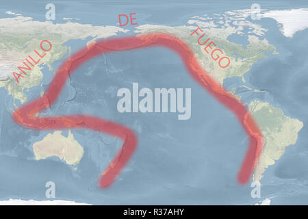 Pacific 'Ring of Fire' map (Spanish-version) (image for illustrative purposes only) - Stock Photo