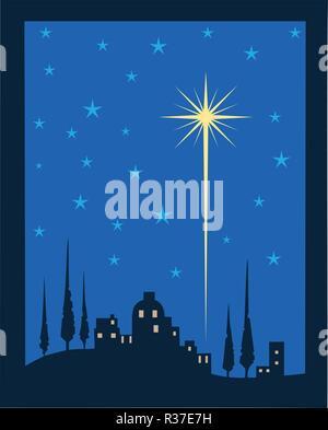 Shining star of Bethlehem, Christmas celebration concept illustration. - Stock Photo