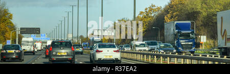 BRISTOL, ENGLAND - NOVEMBER 2018: Heavy traffic during the morning rush hour on the M4 motorway near Bristol. - Stock Photo