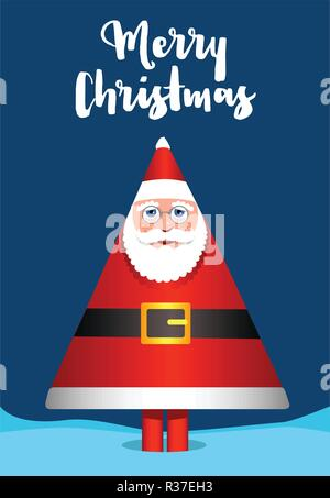Santa Claus in pattern of pine tree. Christmas celebration concept. - Stock Photo