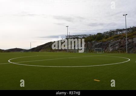 Norwegen, Lofoten, Svolvær, Henningsvær, Heimøy, Hellandsøya, Fußballplatz, Fußball, Sport, Tor, Fußballtor, Markierung, Rasen, Kunstrasen, Feld - Stock Photo