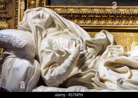 Gian Lorenzo Bernini's statue 'Blessed Ludovica Albertoni' in the Paluzzi-Albertoni chapel in the church of San Francesco a Ripa - Rome, Italy - Stock Photo