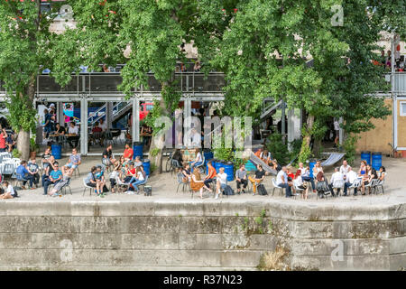 Paris, France, June 19: A view of the Rene Vivian square on the Montbelo embankment of the river Seine from the height of Notre Dame de Paris, June 19 - Stock Photo