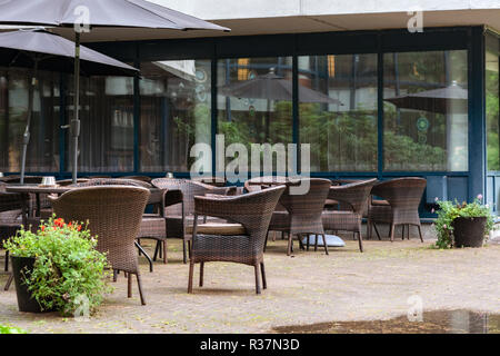 View of the deserted summer cafe on a warm autumn day in Imatra, Finland. - Stock Photo