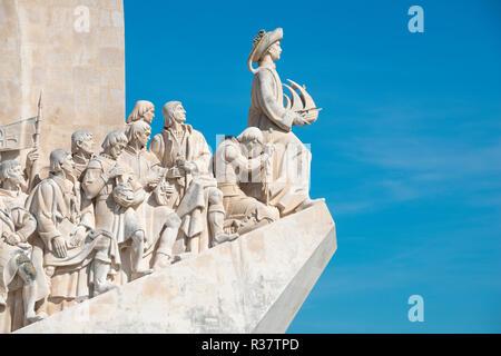 Monument of Discoveries, Padrão dos Descobrimentos, navigator and discoverer, in front Henry the Navigator, Belém, Lisbon - Stock Photo