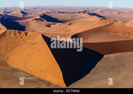 Aerial view, star dune in Sossusvlei National Park, Namib-Naukluft National Park, Namibia - Stock Photo