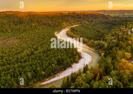 Isar in the evening light, nature reserve Isarauen, near Geretsried, drone shot, Upper Bavaria, Bavaria, Germany - Stock Photo