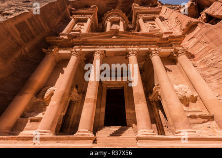 Pharaoh's treasure house carved in rock, facade of the Al-Khazneh treasure house, Khazne Faraun, mausoleum in the Nabataean city - Stock Photo