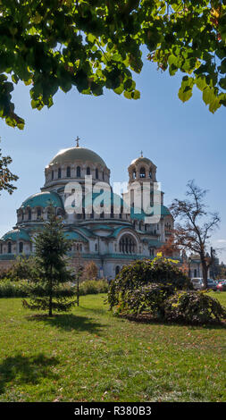 SOFIA, BULGARIA - OCTOBER 5, 2018: Amazing view of Cathedral Saint Alexander Nevski in Sofia, Bulgaria - Stock Photo