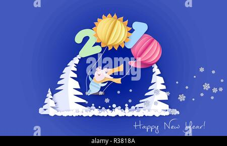 Color paper cut design and craft winter landscape with pig on swing under big digits 2019 shaped as air ballons. Winter holidays and christmas design. Vector illustration. Happy New Year 2019 card. - Stock Photo