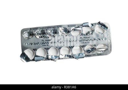 An empty used 14-day blister pack packet of Amlodipine tablets used to control high blood pressure or hypertension. - Stock Photo