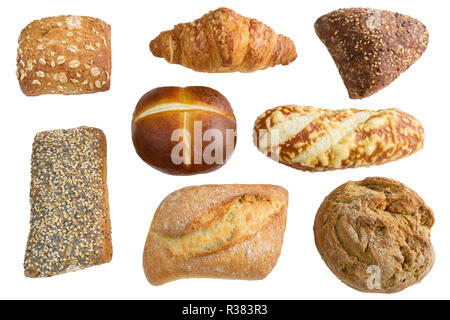 Close-up of Mixed Bread and baked Bread rolls usable as decorative Food Background. Freshly baked Whole-grain Bread Rolls with Sesame Seeds. - Stock Photo