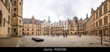 Known as Hamlet's Castle because William Shakespeare based his play Hamlet in the castle at Elsinore, Kronborg Castle sits on the narrow channel betwe - Stock Photo