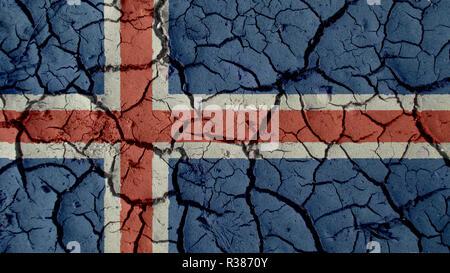 Political Crisis Or Environmental Concept: Mud Cracks With Iceland Flag - Stock Photo