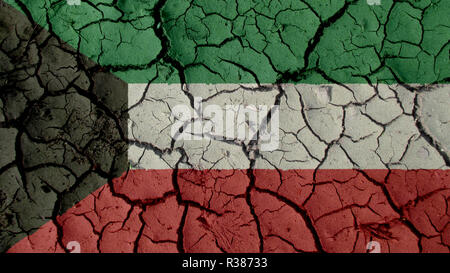 Political Crisis Or Environmental Concept: Mud Cracks With Kuwait Flag - Stock Photo
