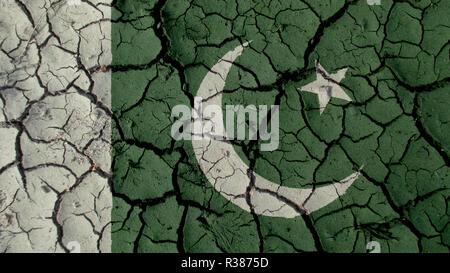Political Crisis Or Environmental Concept: Mud Cracks With Pakistan Flag - Stock Photo