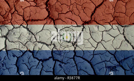 Political Crisis Or Environmental Concept: Mud Cracks With Paraguay Flag - Stock Photo
