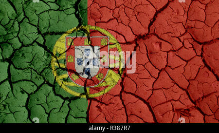 Political Crisis Or Environmental Concept: Mud Cracks With Portugal Flag - Stock Photo