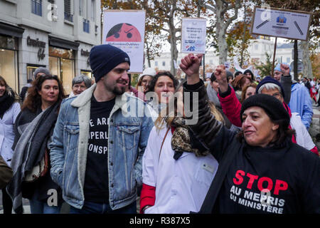 Nurses protest announced status, Lyon, France - Stock Photo