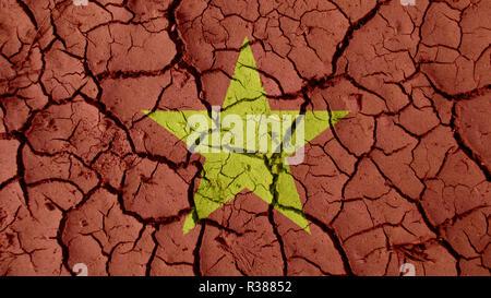 Political Crisis Or Environmental Concept: Mud Cracks With Vietnam Flag - Stock Photo
