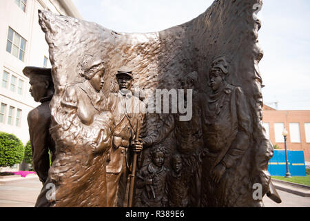 WASHINGTON, DC - The African American Civil War Memorial commemorates the service of 209,145 African-American soldiers and about 7,000 white and 2,145 Hispanic soldiers, amounting to nearly 220,000, plus the approximate 20,000 unsegregated Navy sailors, who fought for the Union in the American Civil War, mostly among the 175 regiments of United States Colored Troops. At the heart of the memorial is a sculpture by Ed Hamilton titled Spirit of Freedom. It is ringed by panels listing the names of those who served during the war. The museum is located in Northwest Washington DC in the U Street nei - Stock Photo