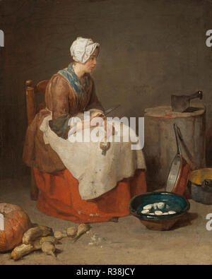 The Kitchen Maid. Dated: 1738. Dimensions: overall: 46.2 x 37.5 cm (18 3/16 x 14 3/4 in.)  framed: 61.9 x 53.7 x 7.3 cm (24 3/8 x 21 1/8 x 2 7/8 in.). Medium: oil on canvas. Museum: National Gallery of Art, Washington DC. Author: JEAN SIMEON CHARDIN. Jean Baptiste Simeon Chardin. - Stock Photo