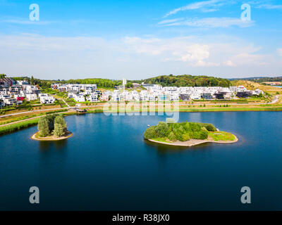 Phoenix See lake is an artificial lake on the former steelworks Phoenix East in Dortmund district Horde - Stock Photo