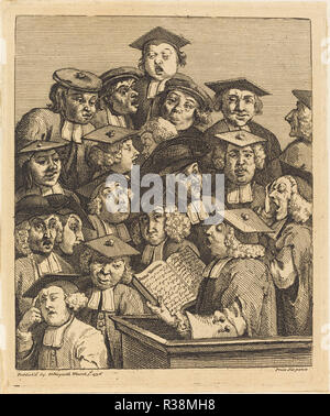 Scholars at a Lecture. Dated: 1736/1737. Medium: etching and engraving. Museum: National Gallery of Art, Washington DC. Author: William Hogarth. - Stock Photo