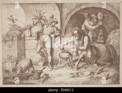 Chiron Teaches Magic to Achilles. Dated: 1758/1759. Dimensions: plate: 21.8 x 29.7 cm (8 9/16 x 11 11/16 in.)  sheet: 28 x 43.5 cm (11 x 17 1/8 in.). Medium: etching in sanguine on laid paper. Museum: National Gallery of Art, Washington DC. Author: Gaetano Zompini, after Giovanni Benedetto Castiglione. - Stock Photo