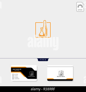 bottle drink, cafe, bar logo template for corporate vector illustration, free business card design template include - Stock Photo