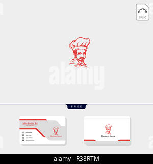 chef logo template for corporate vector illustration, free business card design template include - Stock Photo