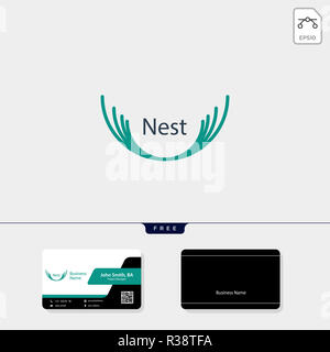 nest logo template vector illustration, free business card design template - Stock Photo