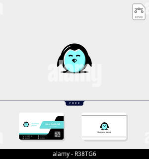 cute penguin icon, logo template vector illustration and logo inspiration, free business card design include - Stock Photo