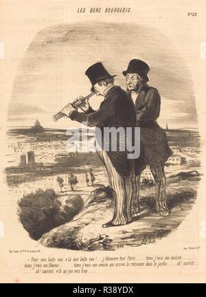 Pour une belle vue, v'la une belle vue!... Dated: 1847. Medium: lithograph on newsprint. Museum: National Gallery of Art, Washington DC. Author: HONORÉ DAUMIER. - Stock Photo